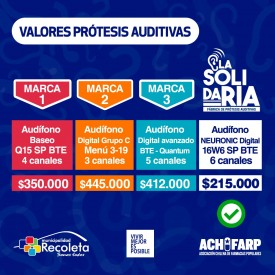Valores de protesis auditivas